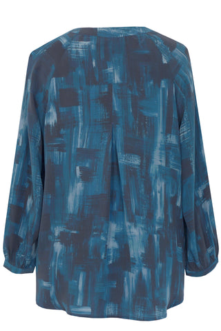 Shadowland Blue - Crepe de Chine Tunic Shirt