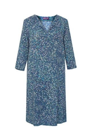 Spots Blue - V Neck Tunic Dress