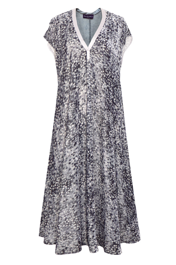 Pazuki | AW18 | Velvet Long Dress with Pockets - Spots Grey - FRONT