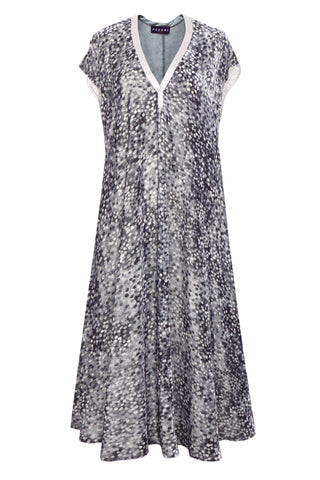 Spots Grey - Velvet Long Dress with Pockets