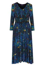 Pazuki | AW19 | Sprigs Blue Carmenta Jersey Dress