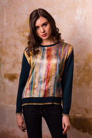 Pazuki | AW19 | Marbled Gold Teal Ceres Satin Front Sweater Model Shot