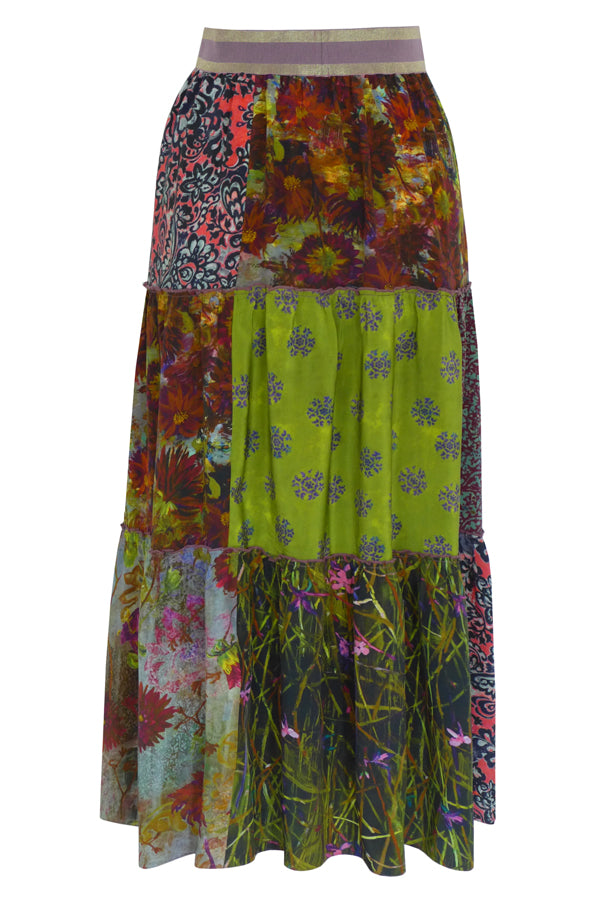 Pazuki | AW19 | Patchwork Red Green Epona Patchwork Skirt