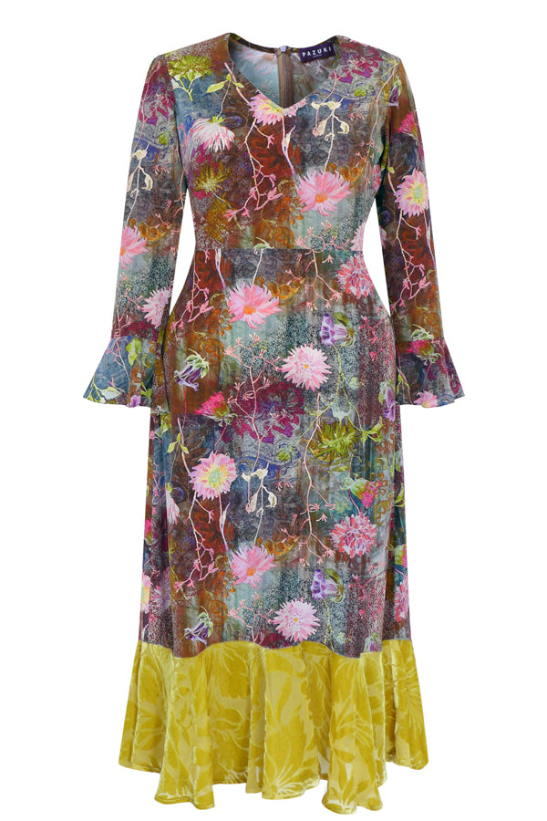 AW19 - Tapestry Pink Fortuna V-Neck with Frill Dress