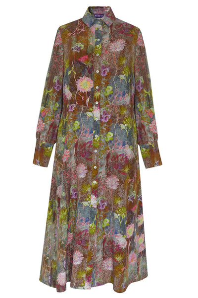 Gaia Tapestry Pink Crepe de Chine Dress