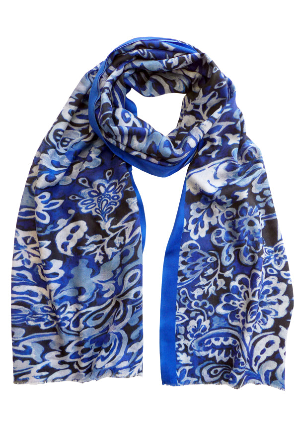 Pazuki | AW19 | Guipure Blue Wool Cashmere Scarf