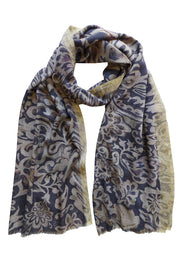 Pazuki | AW19 | Guipure Charcoal Gold Border Wool Silk Scarf