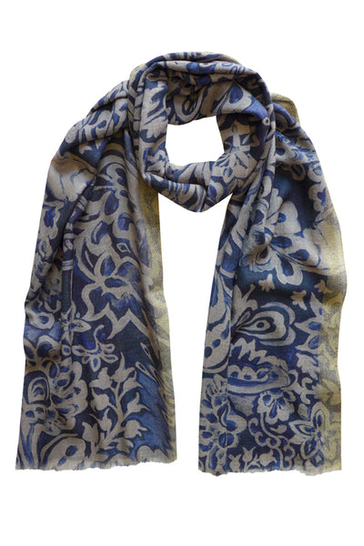 Pazuki | AW19 | Guipure Navy Gold Border Wool Silk Scarf