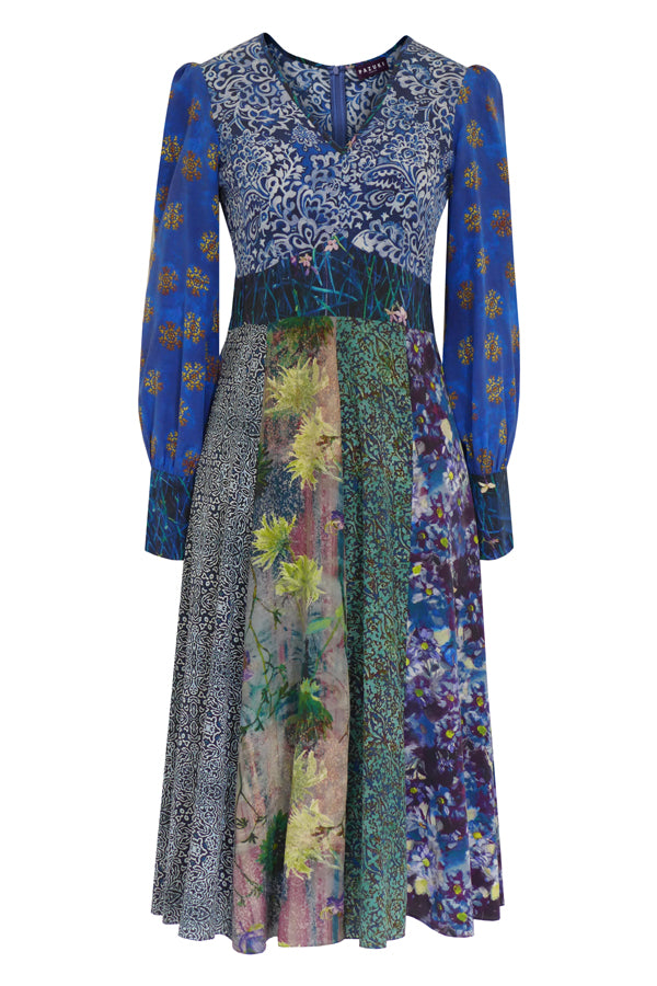 Pazuki | AW19 | Patchwork Blue Libertas V-Neck Dress