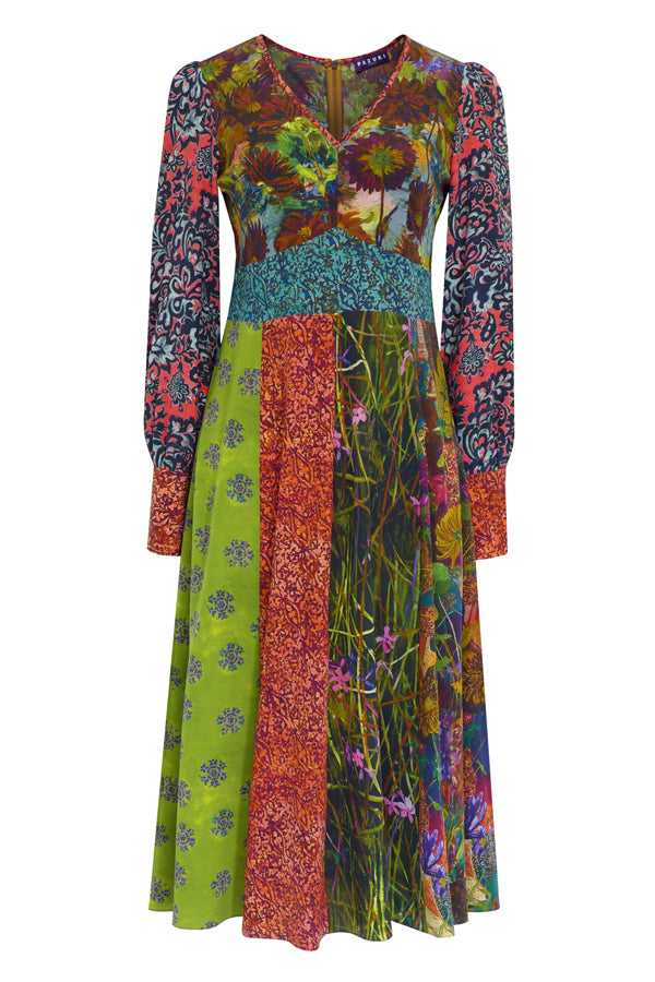 Pazuki | AW19 | Patchwork Pink Green Libertas V-Neck Dress