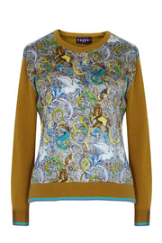 Pazuki | AW19 | Magic Kingdom Gold Blue Ceres Satin Front Sweater