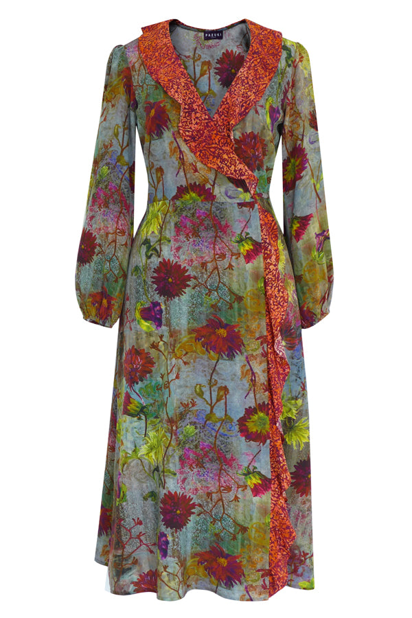 Pazuki | AW19 | Tapestry Brocade Red Minerva Midi Wrap Dress