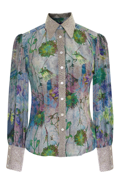 Pazuki | AW19 | Tapestry Green Pomona Devore Detail Shirt