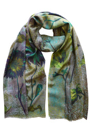 Pazuki | AW19 | Tapestry Green Wool Silk Scarf