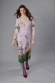 Belisama Nasturtium Border Pale Pink Satin Maxi Dress