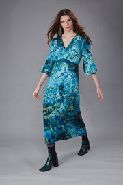 Calypso Nasturtium Blur Blue Maxi Dress