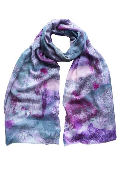 Filigree Pink Wool Cashmere Scarf
