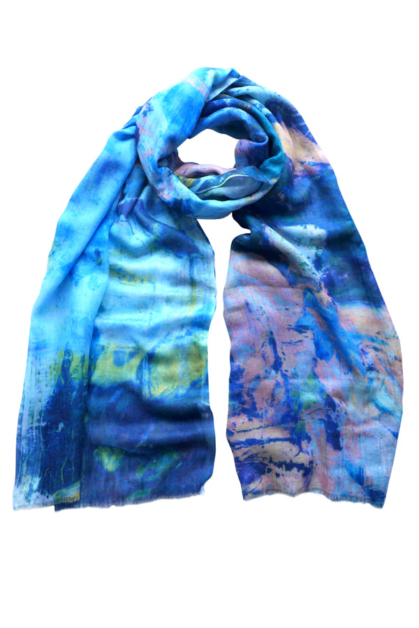 Leaf Blue Wool Cashmere Scarf
