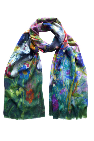 Maisie in the Garden Bright Wool Cashmere Scarf