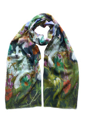 Maisie in the Garden Pastel Wool Cashmere Scarf