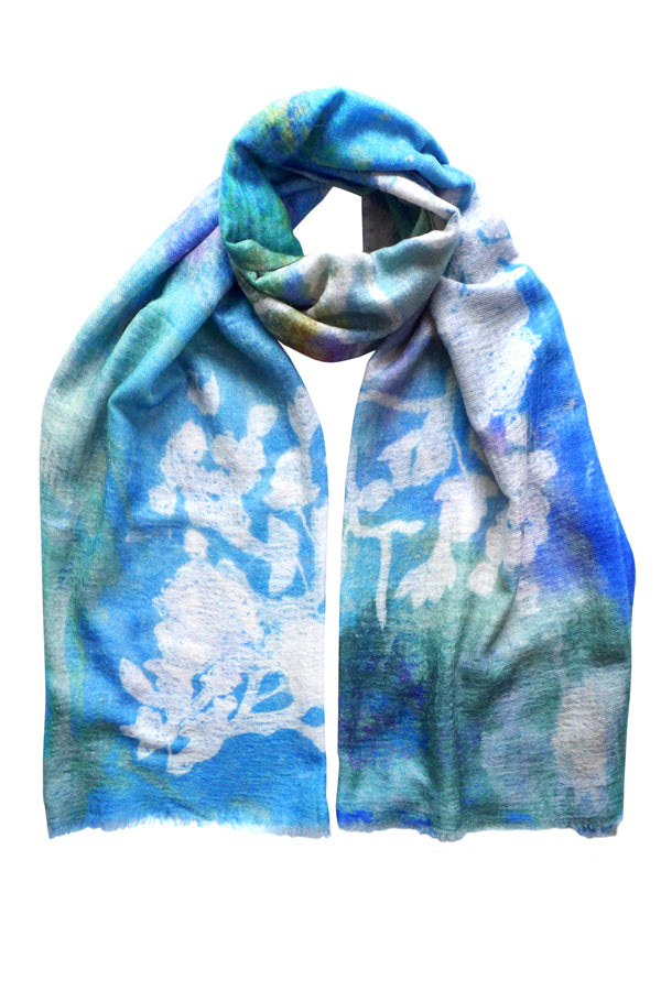 Palace Wall Blue Cashmere Scarf