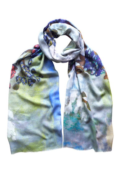 Palace Wall Grey Wool Silk Scarf