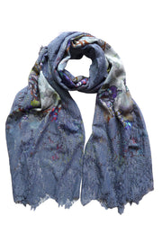 Palace Wall Blue Wool Silk Lace Scarf