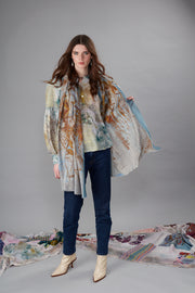 Twigs Blue Wool Silk Scarf