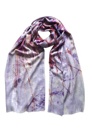 Twigs Brown Mauve Wool Silk Scarf