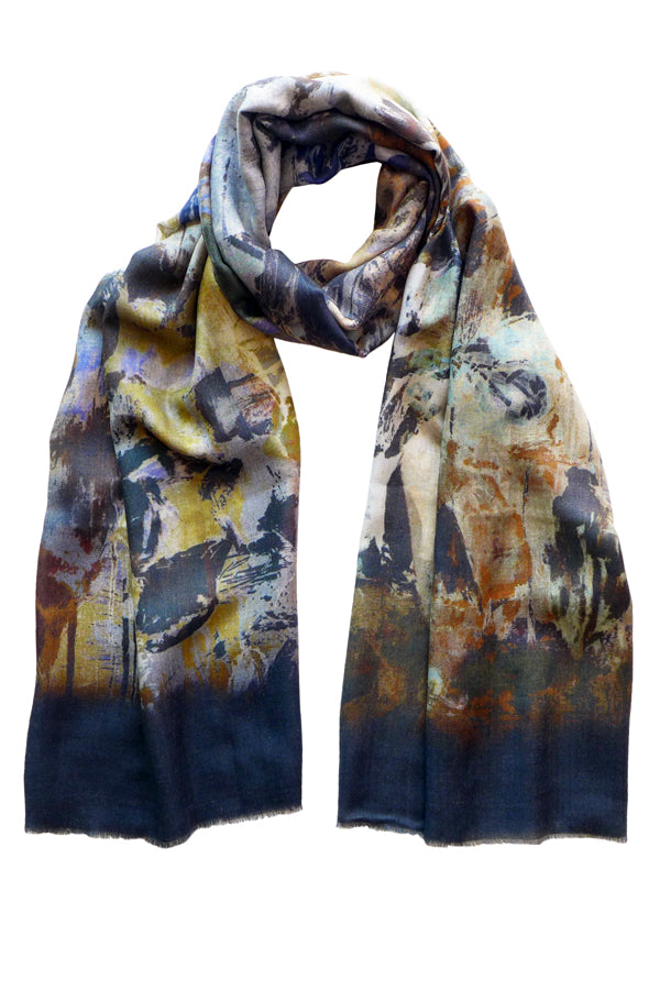 Windfall Neutral Wool Silk Scarf