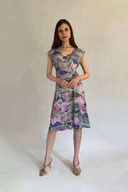 Pazuki | SS20 | Carmenta Mosaic Pink Jersey Dress - Model