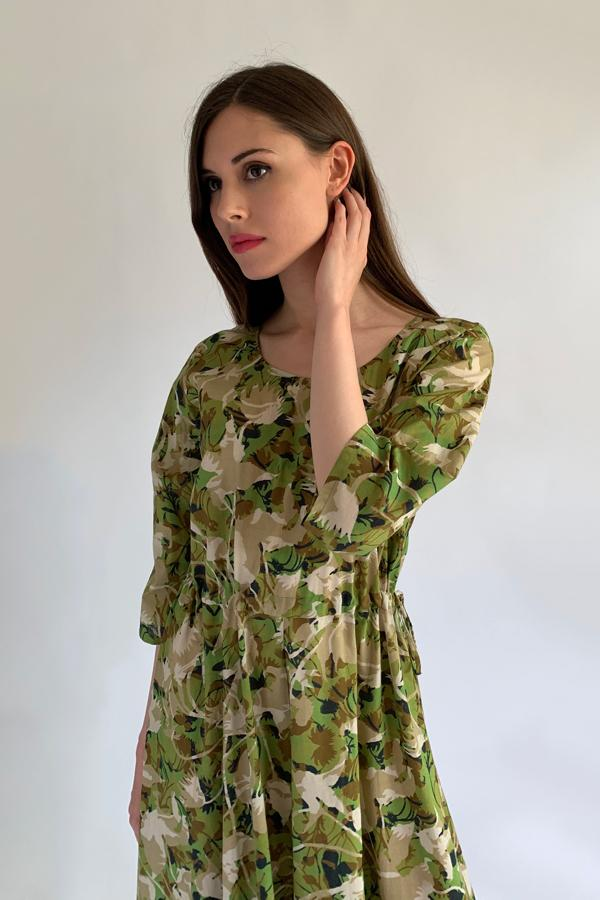 Pazuki | SS20 | Hestia Camouflage Khaki Cotton Voile Draw String Dress - Model
