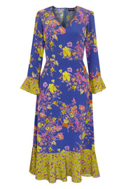 Fortuna Floris Pale Indigo & Lime Midi Dress