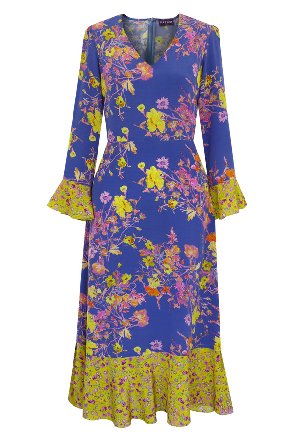 Pazuki - SS20 - Fortuna Damask Rose Pale Indigo & Lime Midi Dress