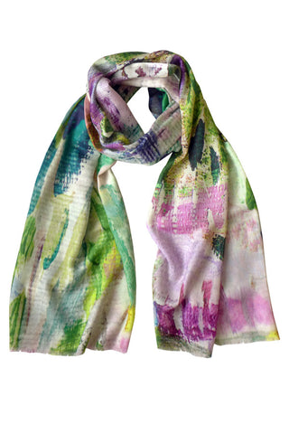 Abstract Garden - (Cotton/Silk/Cashmere) Scarf