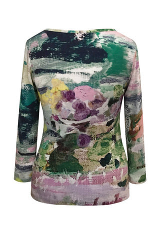 Abstract Garden - Cotton Jersey Long Sleeve Top