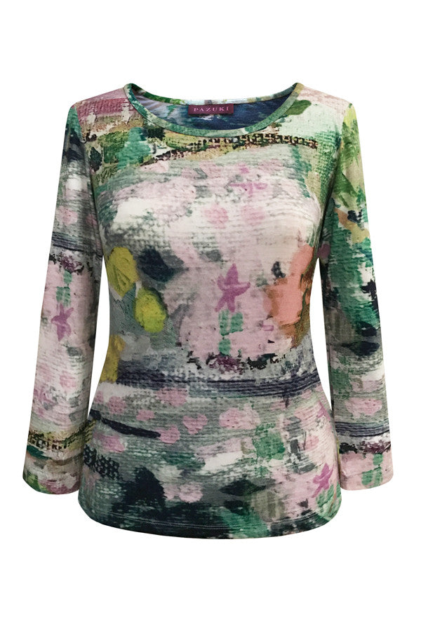 Pazuki | SS17 | Abstract Garden | 100% Cotton Jersey Printed Top - Front