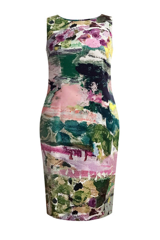 Abstract Garden - Stretch Cotton Shift Dress