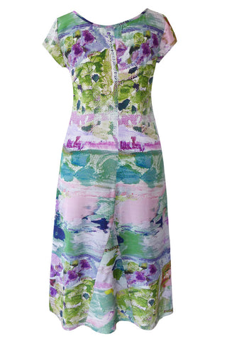 Abstract Garden - 100% Crepe de Chine Tea Dress