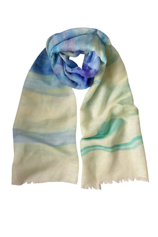 Blue Streak - (Linen/Cotton) Scarf