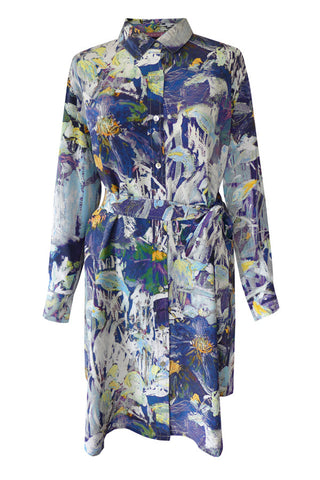 Clematis Navy - Crêpe De Chine Shirt Dress