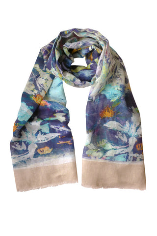 Clematis Navy - (Linen/Cotton) Scarf