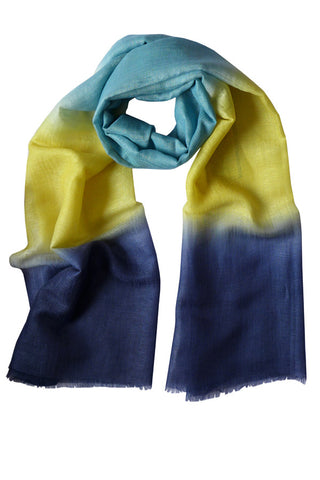 Colour Therapy Yellow Navy - (Linen/Cashmere) Scarf