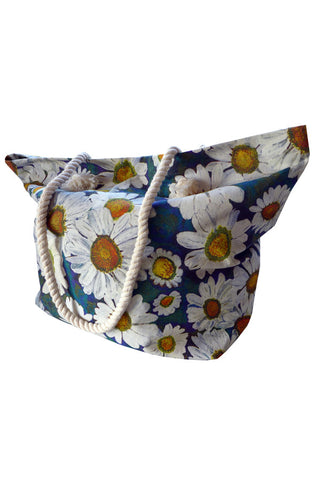Daisies Blue - Cotton Beach Bag