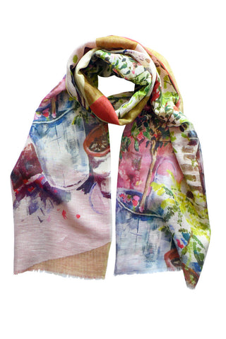 Garden Painting - (Linen/Cotton) Scarf