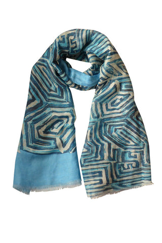 Maze Blue - (Linen/Cotton) Scarf