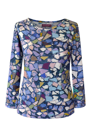 Mosaic Blue - Cotton Jersey Long Sleeve Top