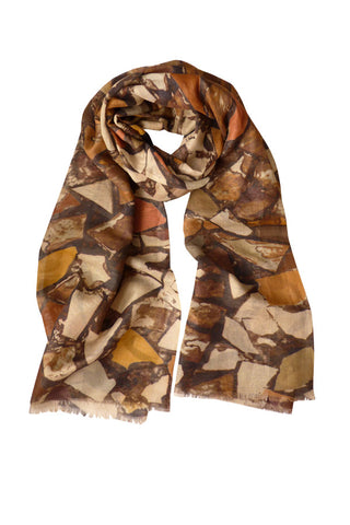 Mosaic Terracotta - (Linen/Cotton) Scarf