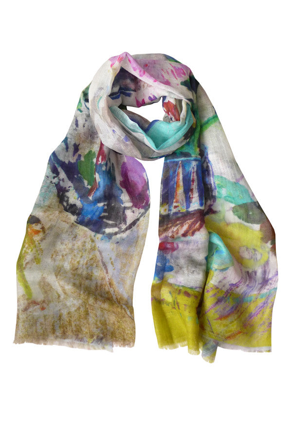 Pazuki | SS17 | Painting School | Linen/Cashmere Printed Scarf