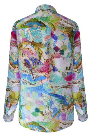 Parrots Blue - Crepe de Chine Fly Front Shirt